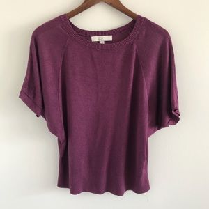 GUC / Worn LOFT Purple Short Sleeve Knit Top S
